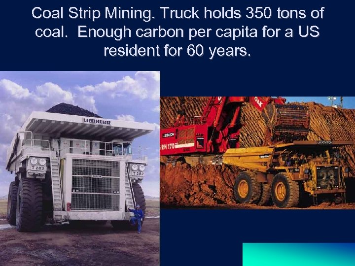 Coal Strip Mining. Truck holds 350 tons of coal. Enough carbon per capita for