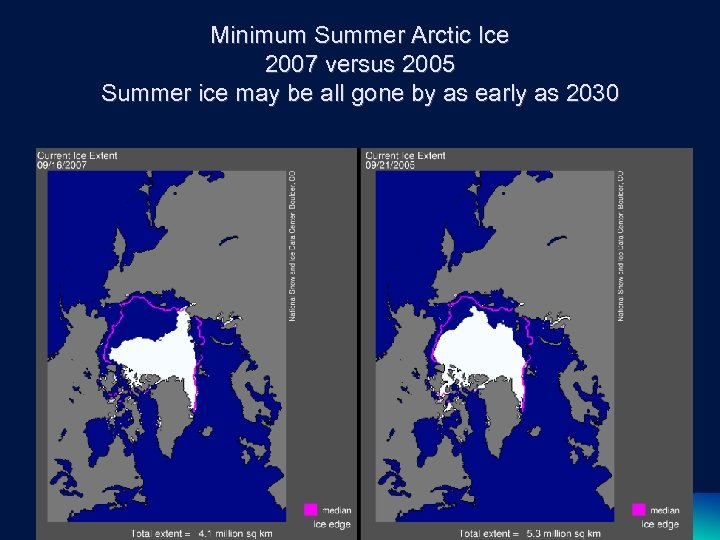 Minimum Summer Arctic Ice 2007 versus 2005 Summer ice may be all gone by
