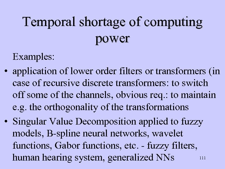 Temporal shortage of computing power Examples: • application of lower order filters or transformers