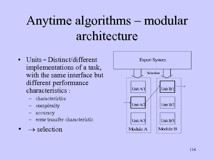 Anytime algorithms – modular architecture • Units = Distinct/different implementations of a task, with