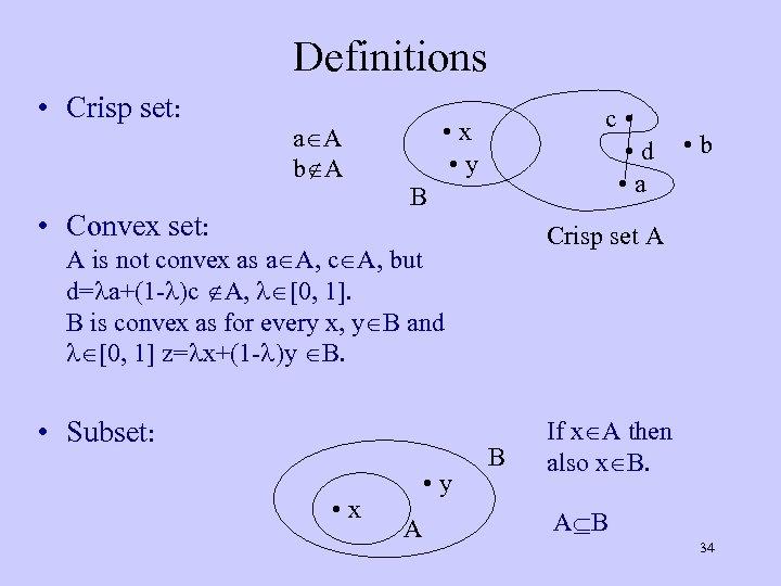 Definitions • Crisp set: a A b A • Convex set: c • •