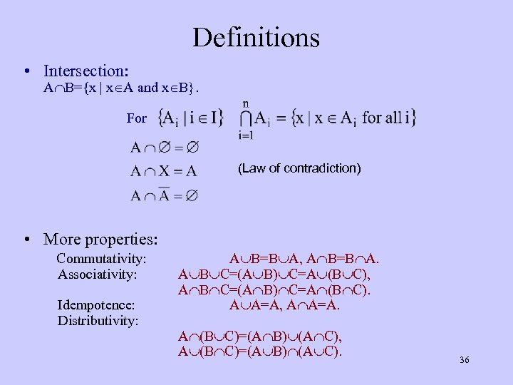 Definitions • Intersection: A B={x | x A and x B}. For (Law of