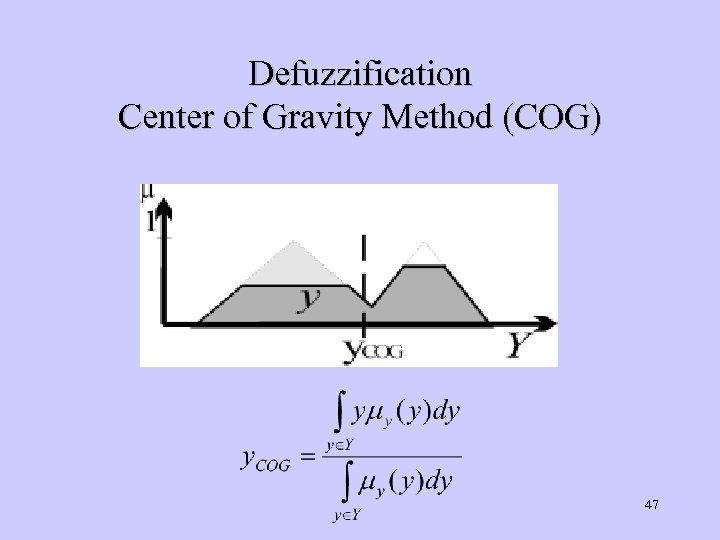 Defuzzification Center of Gravity Method (COG) 47