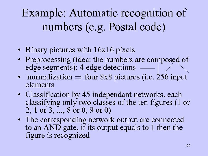 Example: Automatic recognition of numbers (e. g. Postal code) • Binary pictures with 16