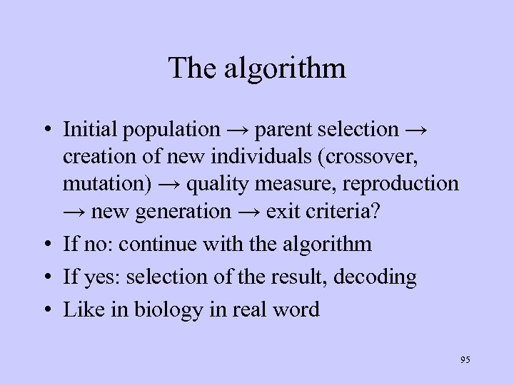 The algorithm • Initial population → parent selection → creation of new individuals (crossover,