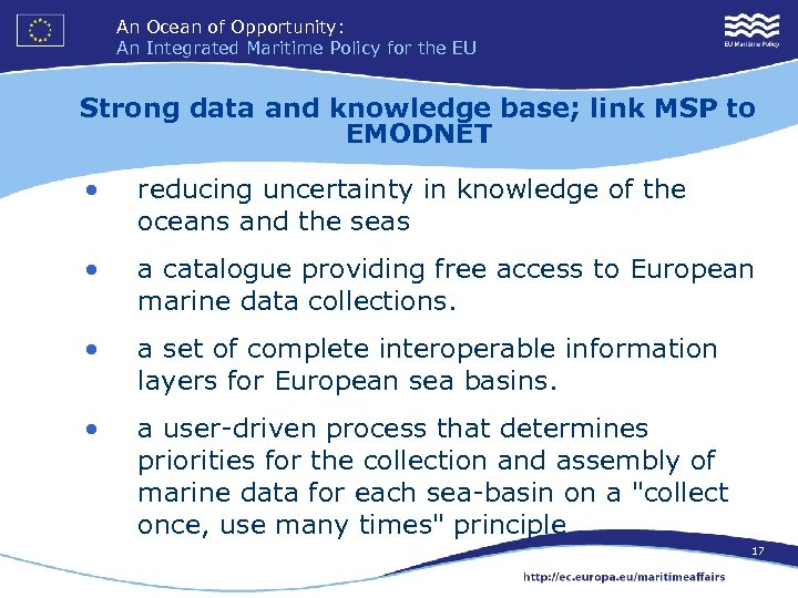 An Ocean of Opportunity: An Integrated Maritime Policy for the EU Strong data and