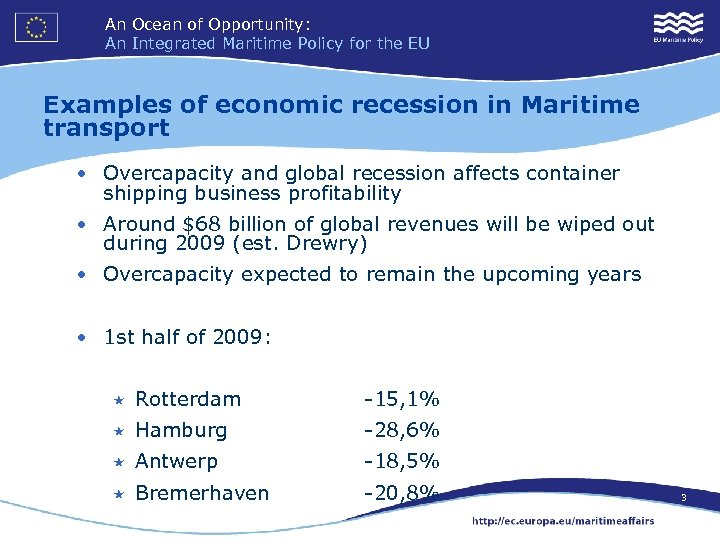 An Ocean of Opportunity: An Integrated Maritime Policy for the EU Examples of economic
