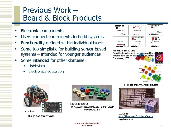 Previous Work – Board & Block Products Electronic components Users connect components to build