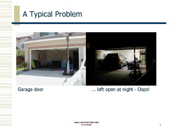 A Typical Problem Garage door . . . left open at night - Oops!