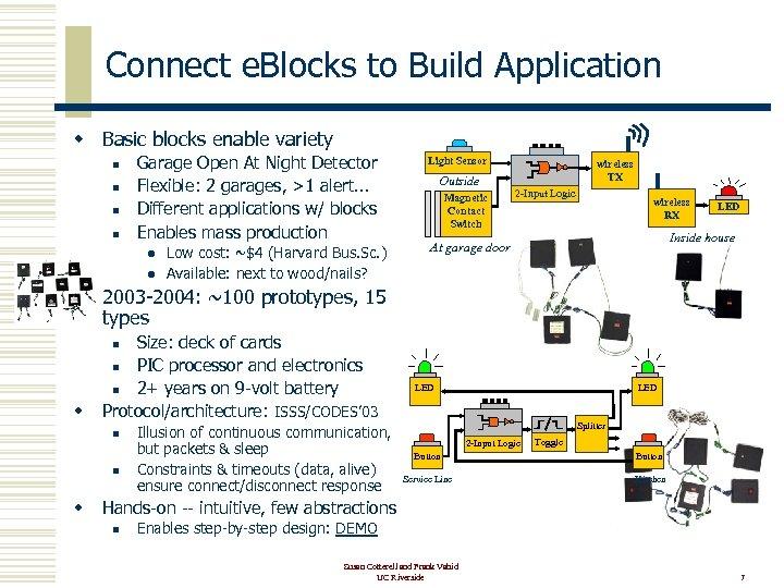 Connect e. Blocks to Build Application w Basic blocks enable variety n n Garage