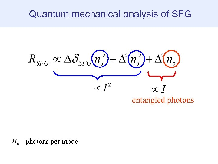 Quantum mechanical analysis of SFG entangled photons - photons per mode
