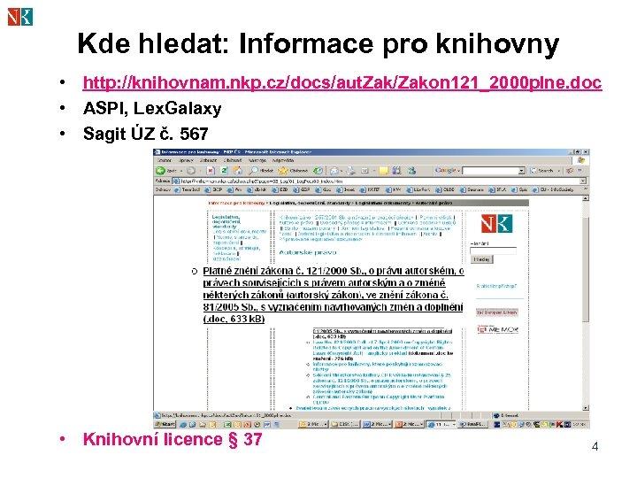 Kde hledat: Informace pro knihovny • http: //knihovnam. nkp. cz/docs/aut. Zak/Zakon 121_2000 plne. doc