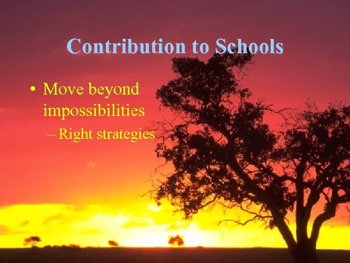 Contribution to Schools • Move beyond impossibilities – Right strategies