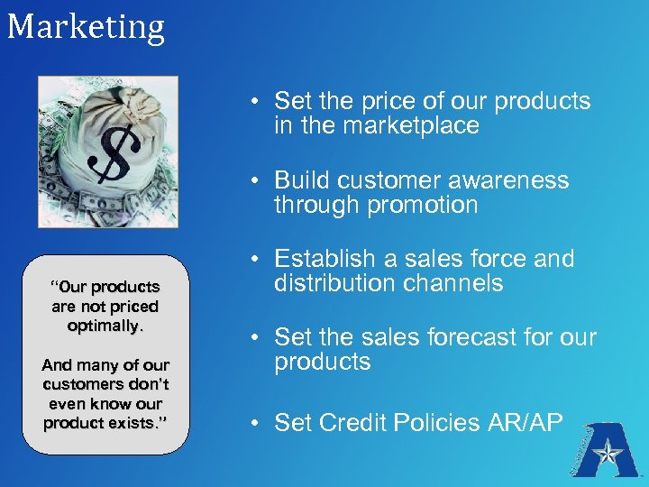 Marketing • Set the price of our products in the marketplace • Build customer