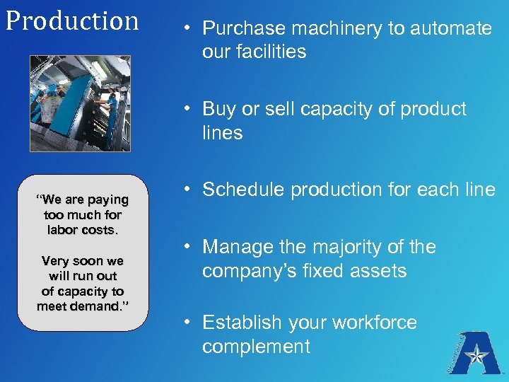 Production • Purchase machinery to automate our facilities • Buy or sell capacity of