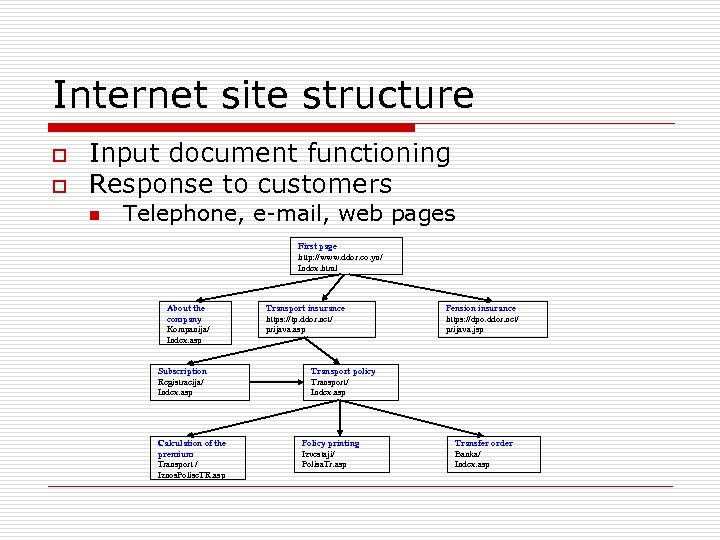Internet site structure o o Input document functioning Response to customers n Telephone, e-mail,
