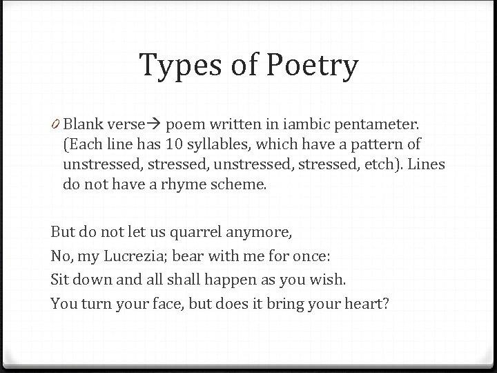 Types of Poetry 0 Blank verse poem written in iambic pentameter. (Each line has