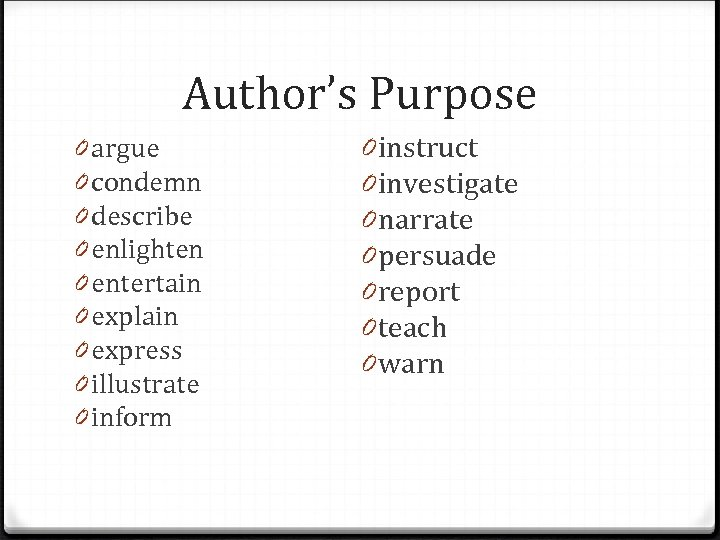 Author's Purpose 0 argue 0 condemn 0 describe 0 enlighten 0 entertain 0 explain