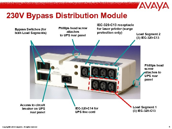 230 V Bypass Distribution Module Bypass Switches (for both Load Segments) Phillips head screw