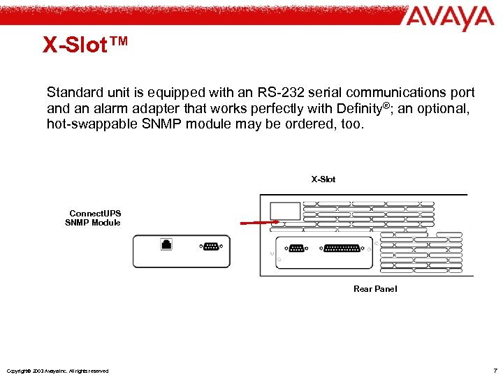 X-Slot™ Standard unit is equipped with an RS-232 serial communications port and an alarm