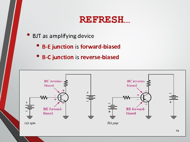REFRESH… • BJT as amplifying device • B-E junction is forward-biased • B-C junction