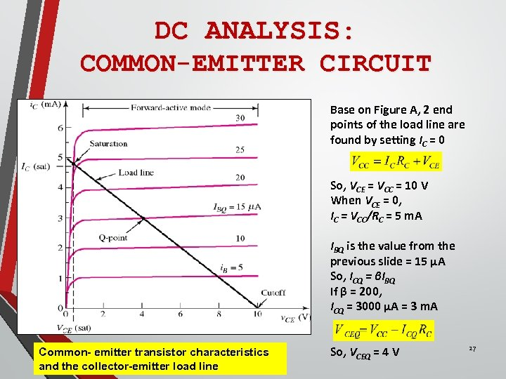 DC ANALYSIS: COMMON-EMITTER CIRCUIT Base on Figure A, 2 end points of the load