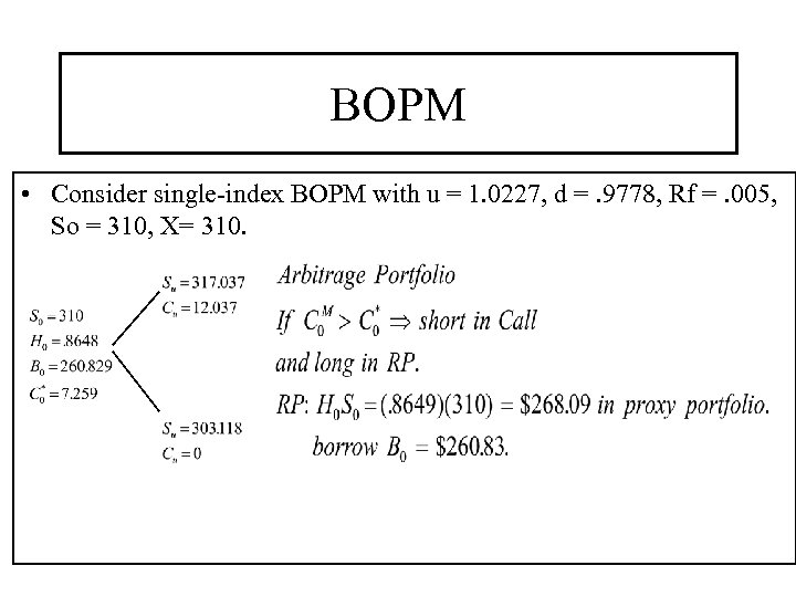 BOPM • Consider single-index BOPM with u = 1. 0227, d =. 9778, Rf