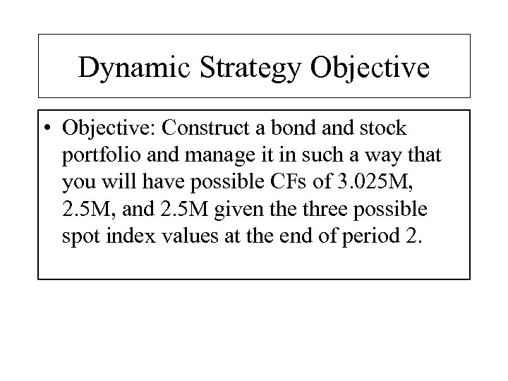 Dynamic Strategy Objective • Objective: Construct a bond and stock portfolio and manage it
