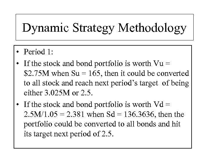 Dynamic Strategy Methodology • Period 1: • If the stock and bond portfolio is