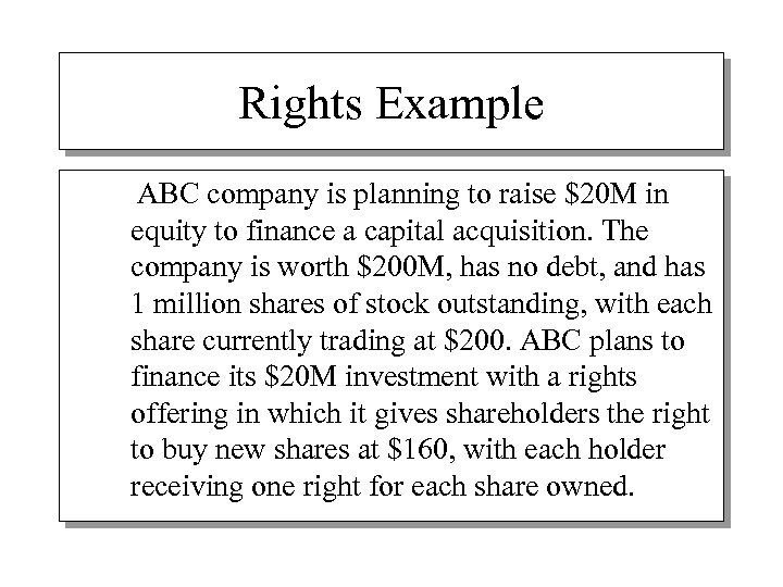 Rights Example ABC company is planning to raise $20 M in equity to finance