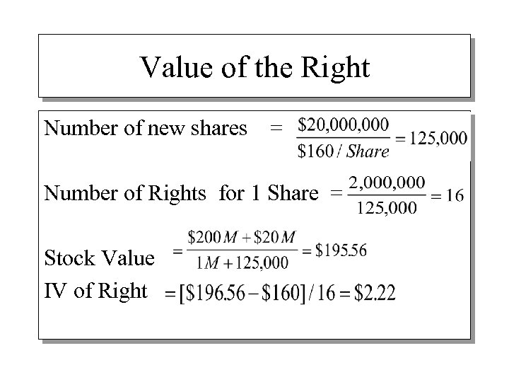 Value of the Right Number of new shares = Number of Rights for 1