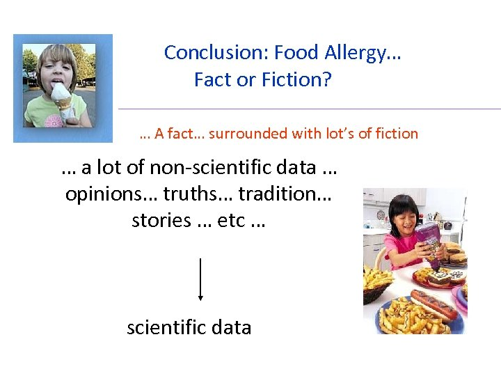Conclusion: Food Allergy… Fact or Fiction? … A fact… surrounded with lot's of fiction