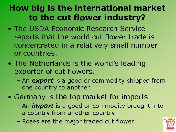 How big is the international market to the cut flower industry? • The USDA