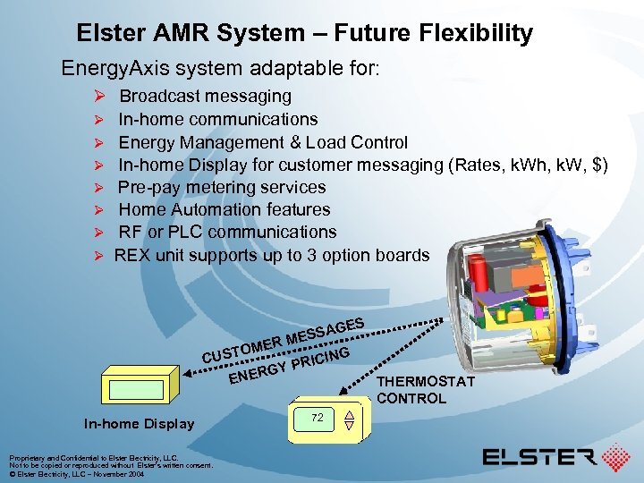 Elster AMR System – Future Flexibility Energy. Axis system adaptable for: Ø Broadcast messaging