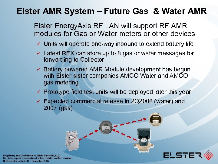 Elster AMR System – Future Gas & Water AMR Elster Energy. Axis RF LAN