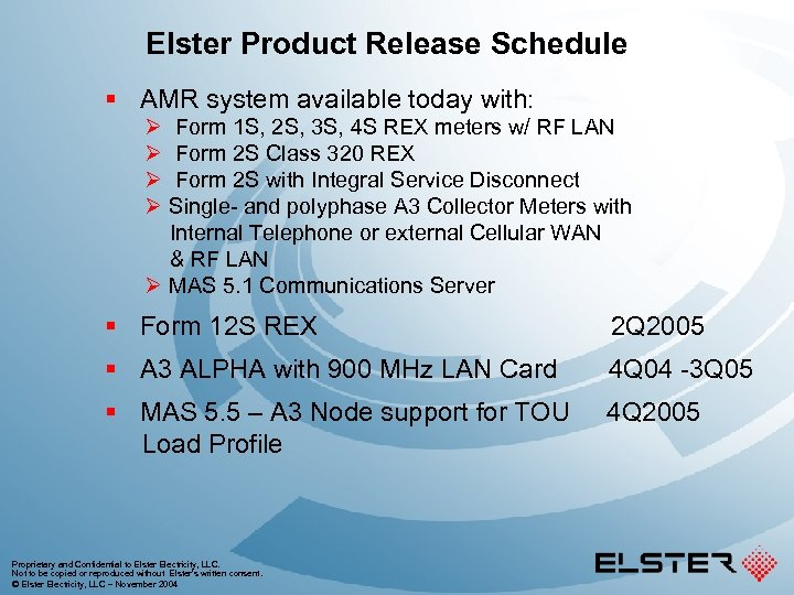 Elster Product Release Schedule § AMR system available today with: Ø Form 1 S,