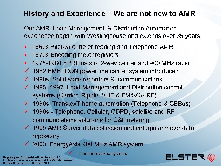 History and Experience – We are not new to AMR Our AMR, Load Management,