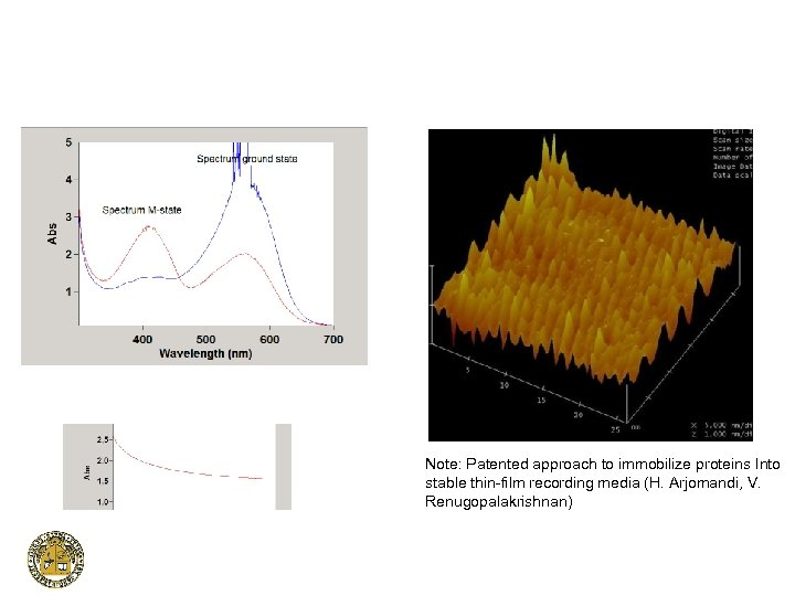 Note: Patented approach to immobilize proteins Into stable thin-film recording media (H. Arjomandi, V.