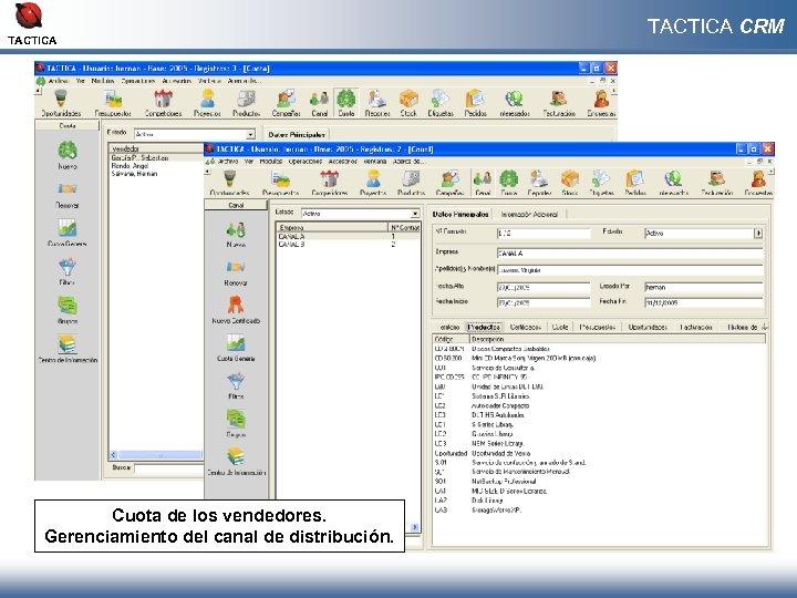 TACTICA Cuota de los vendedores. Gerenciamiento del canal de distribución. TACTICA CRM