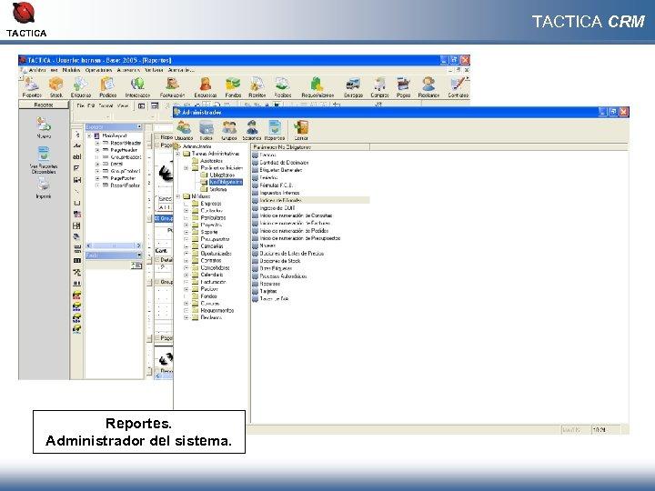 TACTICA Reportes. Administrador del sistema. TACTICA CRM