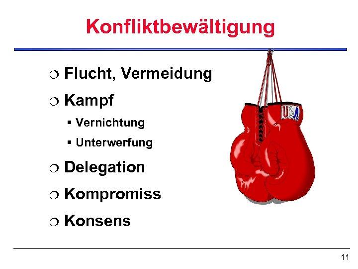 Konfliktbewältigung ¦ Flucht, Vermeidung ¦ Kampf § Vernichtung § Unterwerfung ¦ Delegation ¦ Kompromiss