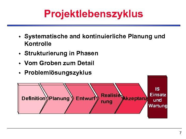 Projektlebenszyklus w Systematische and kontinuierliche Planung und Kontrolle w Strukturierung in Phasen w Vom