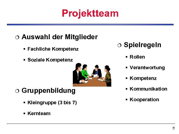 Projektteam ¦ Auswahl der Mitglieder § Fachliche Kompetenz § Soziale Kompetenz ¦ Spielregeln §