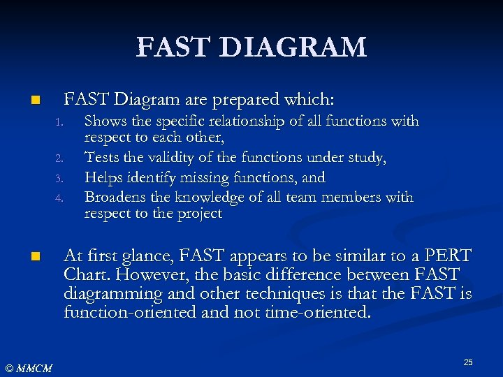 FAST DIAGRAM n FAST Diagram are prepared which: 1. 2. 3. 4. n ©
