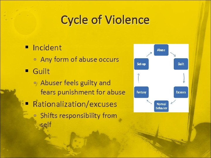 Cycle of Violence Incident Any form of abuse occurs Guilt Abuser feels guilty and