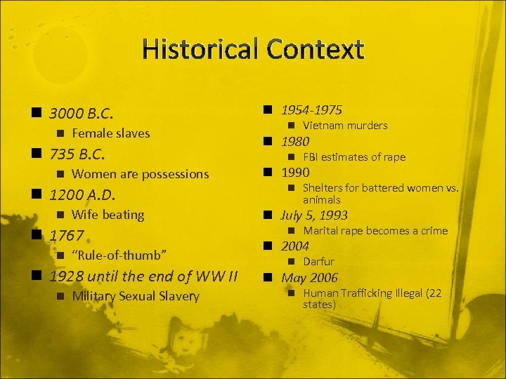 Historical Context n 3000 B. C. n Female slaves n 735 B. C. n
