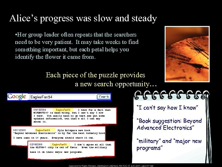 Alice's progress was slow and steady • Her group leader often repeats that the