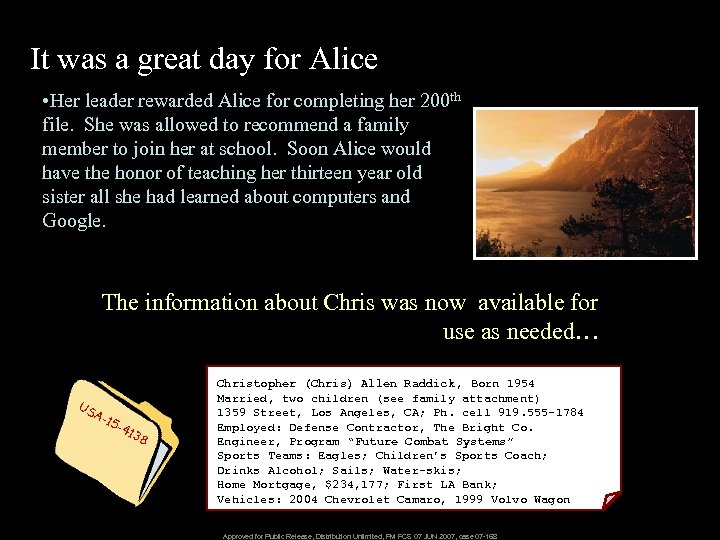 It was a great day for Alice • Her leader rewarded Alice for completing