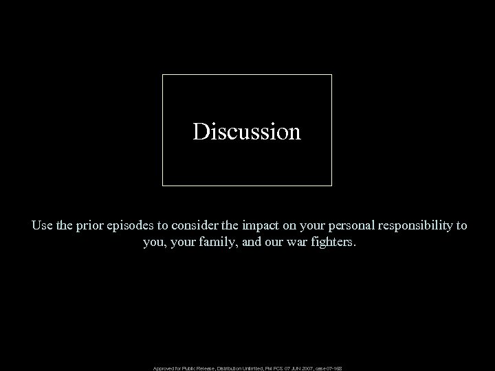 Discussion Use the prior episodes to consider the impact on your personal responsibility to