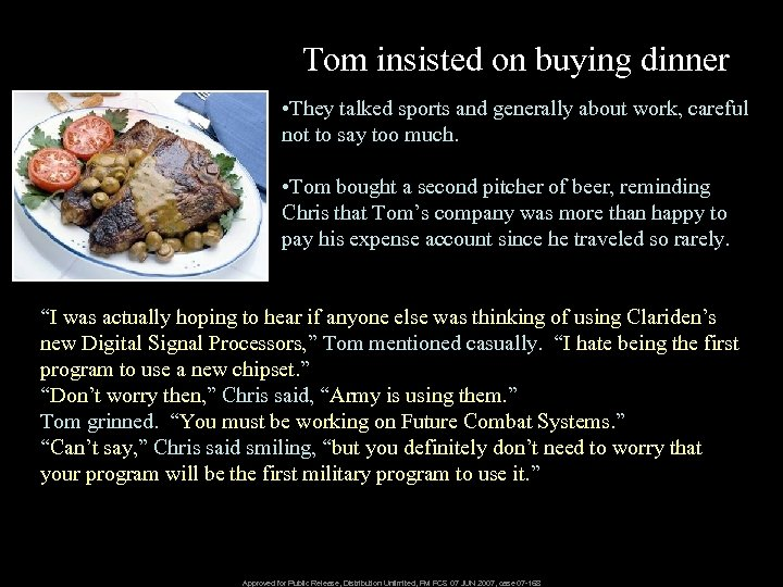 Tom insisted on buying dinner • They talked sports and generally about work, careful